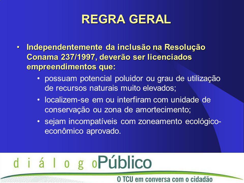 Independentemente da inclusão na Resolução Conama 237/1997, deverão ser licenciados empreendimentos que:Independentemente da inclusão na Resolução Con