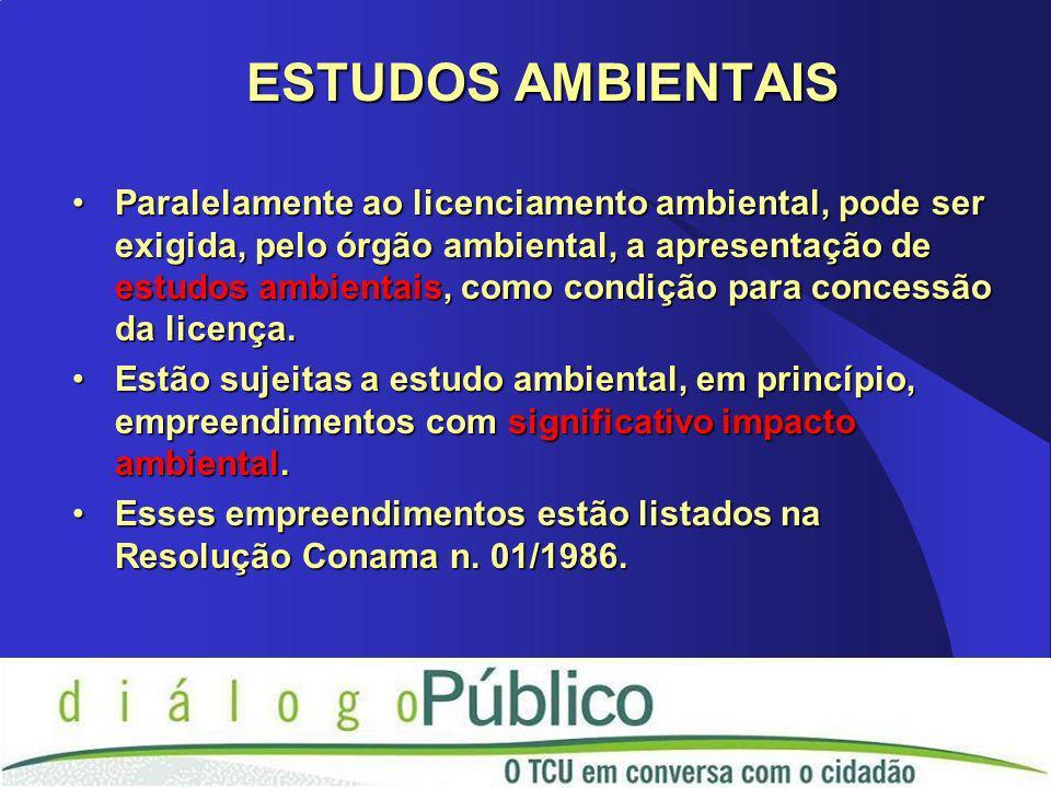 Paralelamente ao licenciamento ambiental, pode ser exigida, pelo órgão ambiental, a apresentação de estudos ambientais, como condição para concessão d