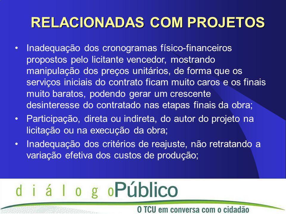 Inadequação dos cronogramas físico-financeiros propostos pelo licitante vencedor, mostrando manipulação dos preços unitários, de forma que os serviços