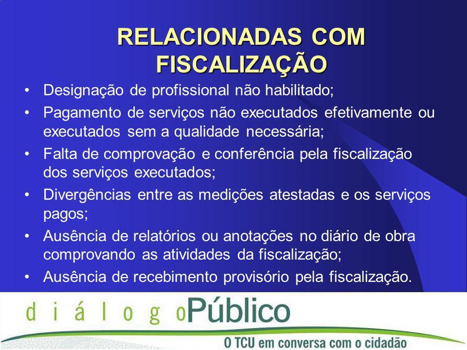 Designação de profissional não habilitado; Pagamento de serviços não executados efetivamente ou executados sem a qualidade necessária; Falta de compro