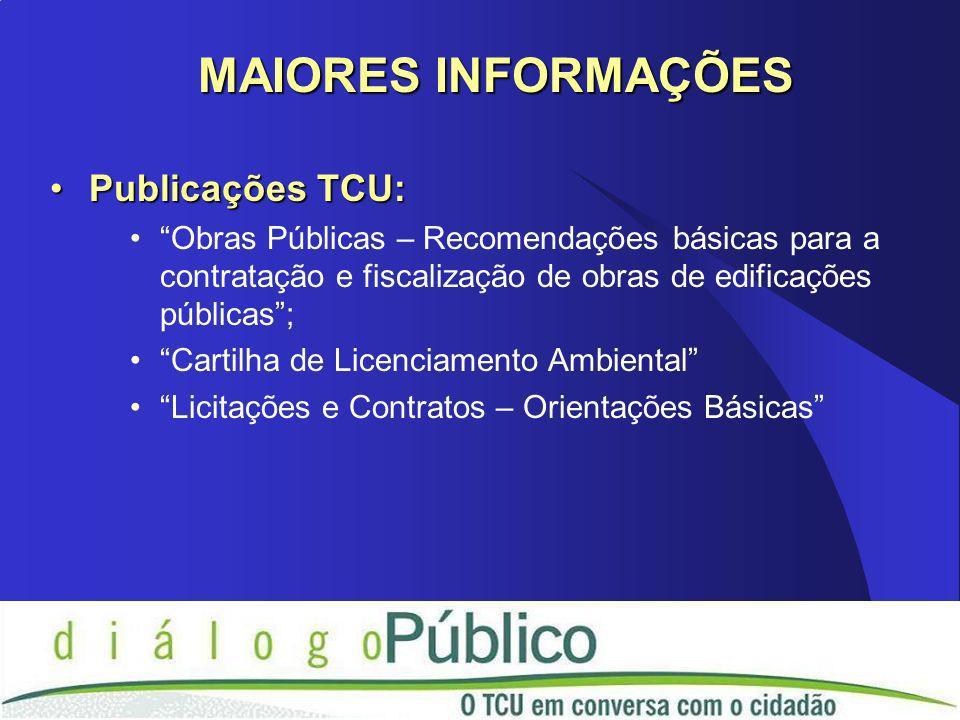 Publicações TCU:Publicações TCU: Obras Públicas – Recomendações básicas para a contratação e fiscalização de obras de edificações públicas; Cartilha d