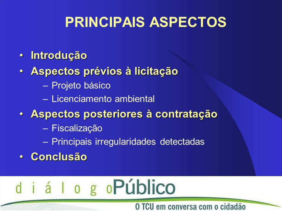 IntroduçãoIntrodução Aspectos prévios à licitaçãoAspectos prévios à licitação –Projeto básico –Licenciamento ambiental Aspectos posteriores à contrata