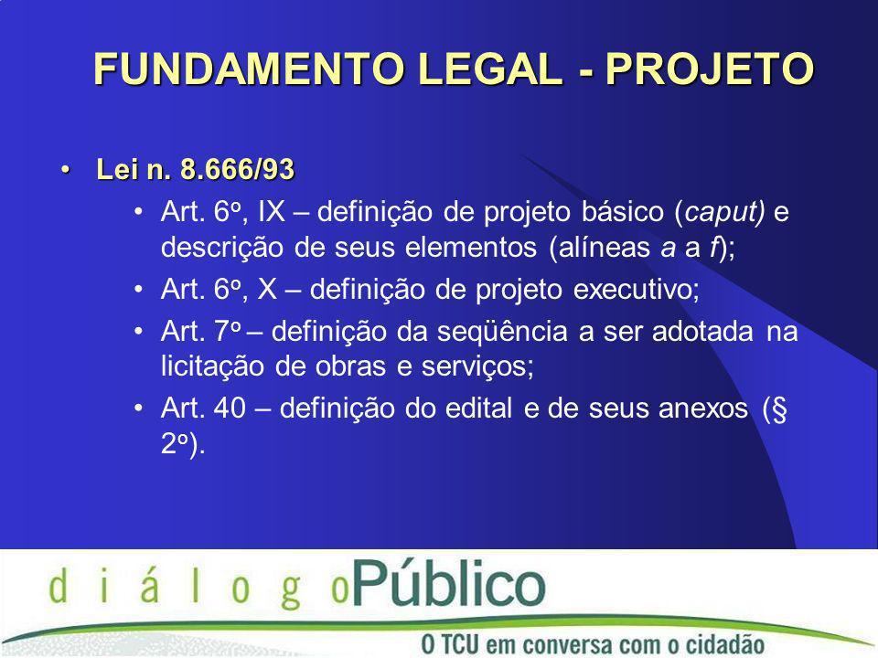 Lei n. 8.666/93Lei n. 8.666/93 Art. 6 o, IX – definição de projeto básico (caput) e descrição de seus elementos (alíneas a a f); Art. 6 o, X – definiç