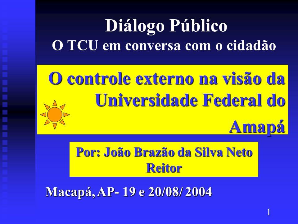 Diálogo Público O TCU em conversa com o cidadão O controle externo na visão da Universidade Federal do Amapá Macapá, AP- 19 e 20/08/ 2004 Por: João Br