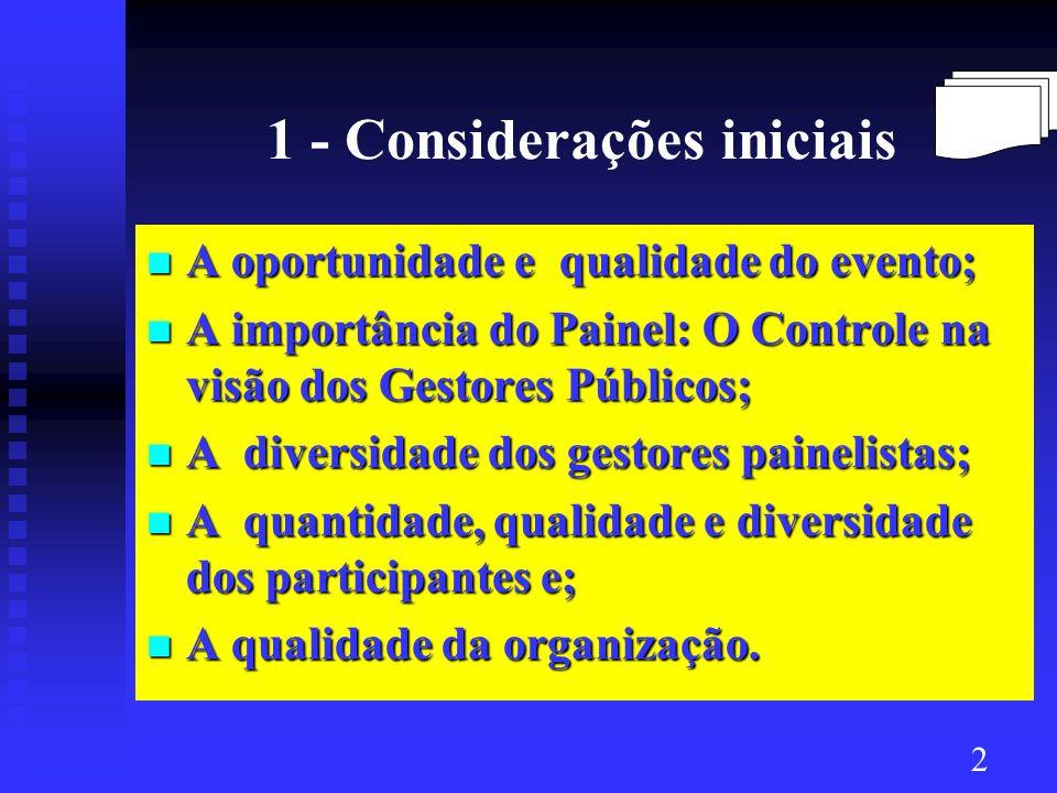 1 - Considerações iniciais A oportunidade e qualidade do evento; A oportunidade e qualidade do evento; A importância do Painel: O Controle na visão do