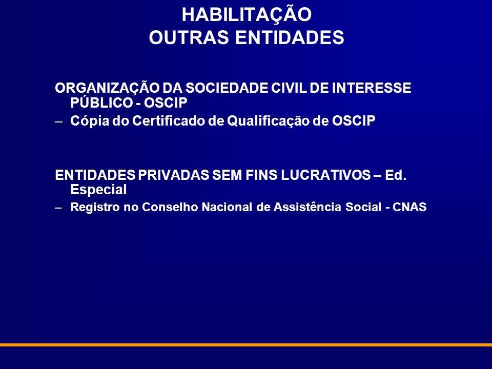 HABILITAÇÃO OUTRAS ENTIDADES ORGANIZAÇÃO DA SOCIEDADE CIVIL DE INTERESSE PÚBLICO - OSCIP –Cópia do Certificado de Qualificação de OSCIP ENTIDADES PRIV