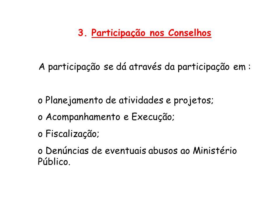 3. Participação nos Conselhos A participação se dá através da participação em : o Planejamento de atividades e projetos; o Acompanhamento e Execução;