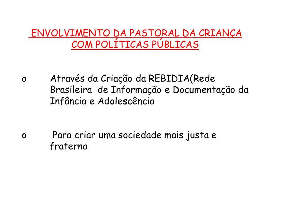 ENVOLVIMENTO DA PASTORAL DA CRIANÇA COM POLÍTICAS PÚBLICAS o Através da Criação da REBIDIA(Rede Brasileira de Informação e Documentação da Infância e