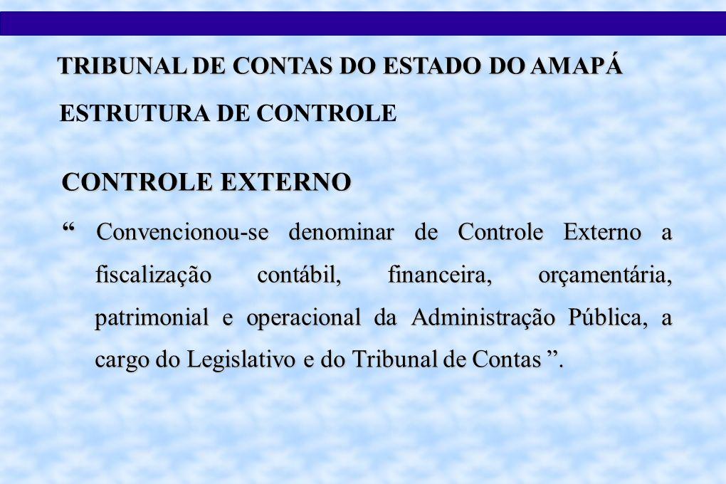 CONTROLE EXTERNO Convencionou-se denominar de Controle Externo a fiscalização contábil, financeira, orçamentária, patrimonial e operacional da Administração Pública, a cargo do Legislativo e do Tribunal de Contas.