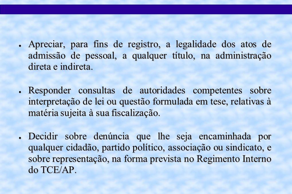 Apreciar, para fins de registro, a legalidade dos atos de admissão de pessoal, a qualquer título, na administração direta e indireta.