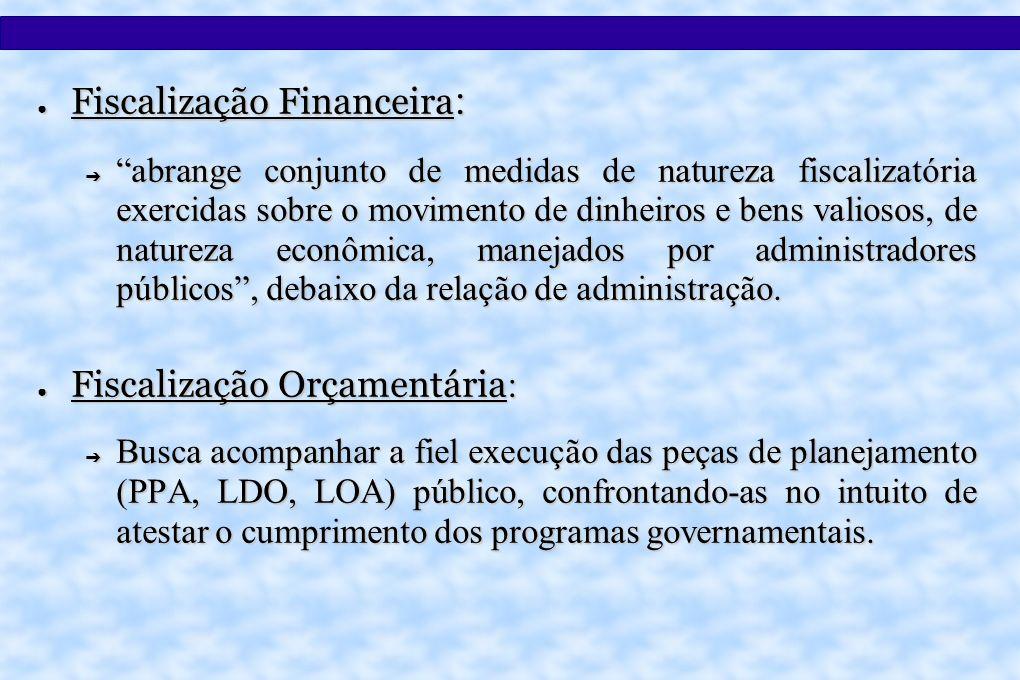 Fiscalização Financeira : Fiscalização Financeira : abrange conjunto de medidas de natureza fiscalizatória exercidas sobre o movimento de dinheiros e bens valiosos, de natureza econômica, manejados por administradores públicos, debaixo da relação de administração.