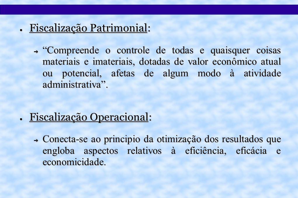 Fiscalização Patrimonial: Fiscalização Patrimonial: Compreende o controle de todas e quaisquer coisas materiais e imateriais, dotadas de valor econômico atual ou potencial, afetas de algum modo à atividade administrativa.