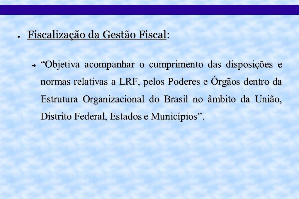 Fiscalização da Gestão Fiscal: Fiscalização da Gestão Fiscal: Objetiva acompanhar o cumprimento das disposições e normas relativas a LRF, pelos Poderes e Órgãos dentro da Estrutura Organizacional do Brasil no âmbito da União, Distrito Federal, Estados e Municípios.