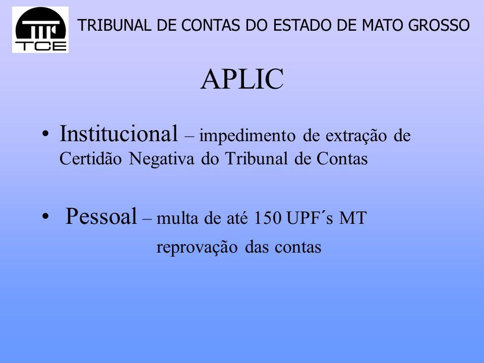 TRIBUNAL DE CONTAS DO ESTADO DE MATO GROSSO APLIC Institucional – impedimento de extração de Certidão Negativa do Tribunal de Contas Pessoal – multa d