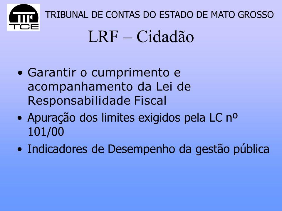 TRIBUNAL DE CONTAS DO ESTADO DE MATO GROSSO LRF – Cidadão Garantir o cumprimento e acompanhamento da Lei de Responsabilidade Fiscal Apuração dos limit