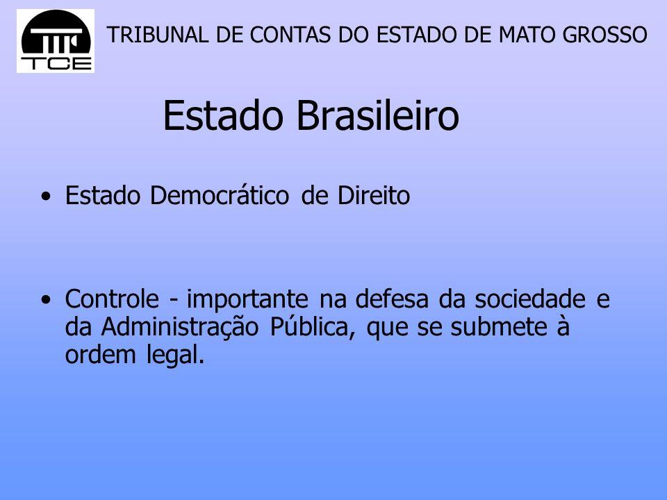 TRIBUNAL DE CONTAS DO ESTADO DE MATO GROSSO Estado Brasileiro Estado Democrático de Direito Controle - importante na defesa da sociedade e da Administração Pública, que se submete à ordem legal.