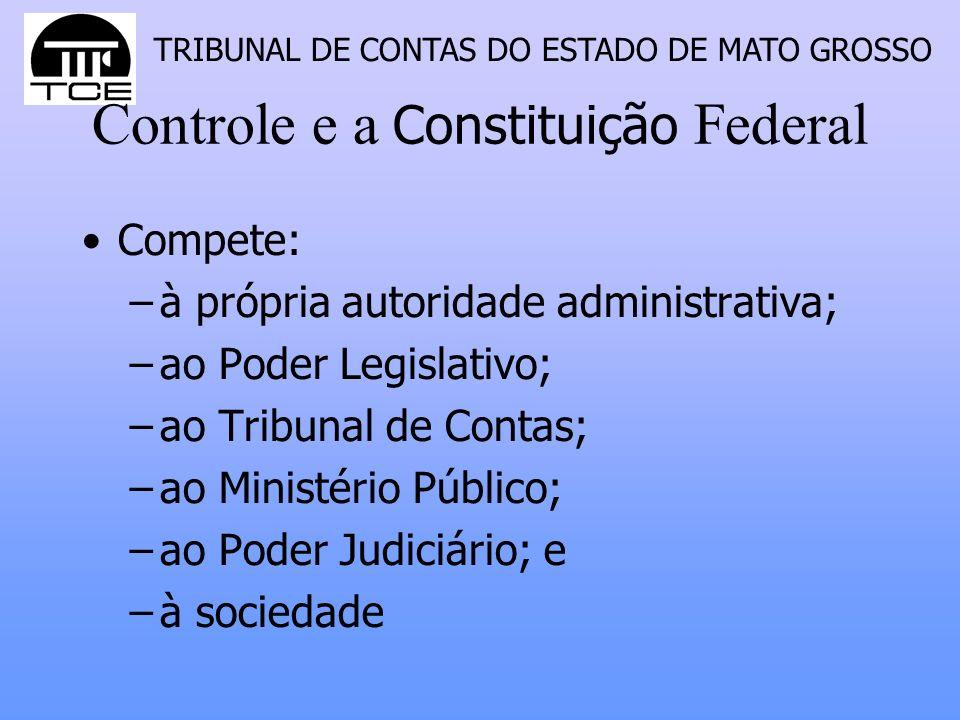 TRIBUNAL DE CONTAS DO ESTADO DE MATO GROSSO Controle e a Constituição Federal Compete: –à própria autoridade administrativa; –ao Poder Legislativo; –a