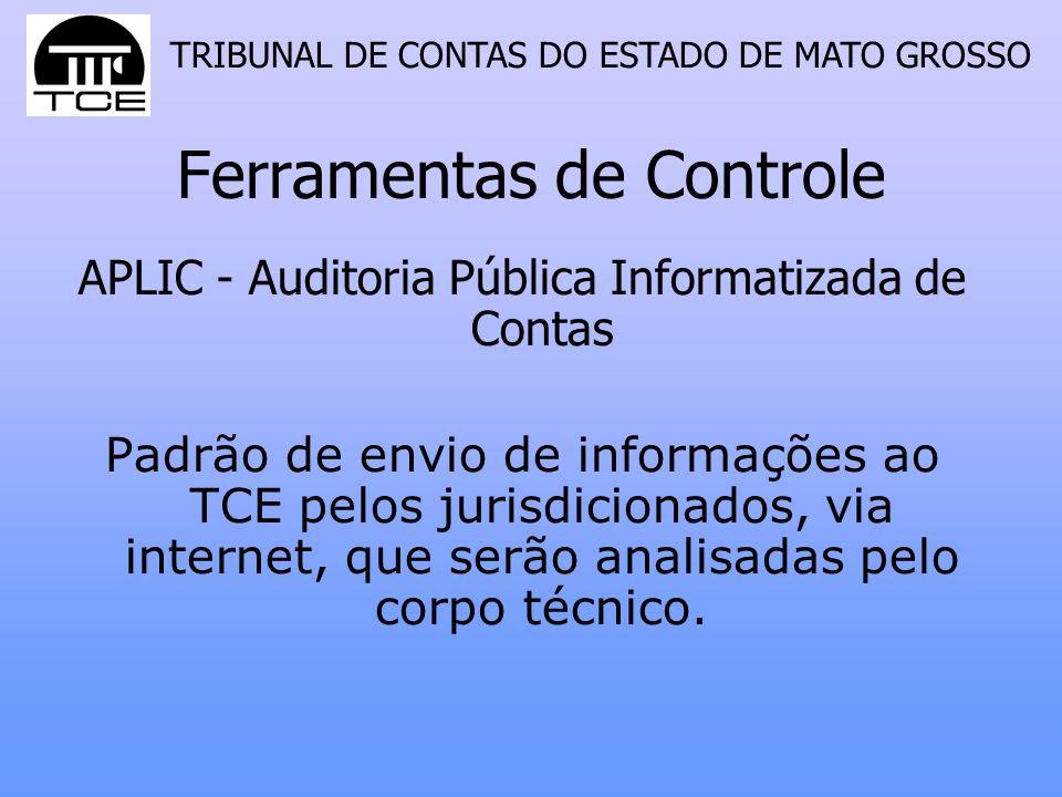 TRIBUNAL DE CONTAS DO ESTADO DE MATO GROSSO Ferramentas de Controle APLIC - Auditoria Pública Informatizada de Contas Padrão de envio de informações a