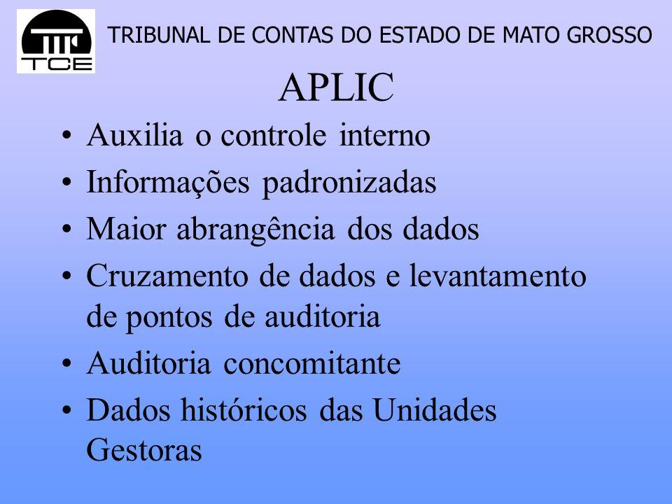 TRIBUNAL DE CONTAS DO ESTADO DE MATO GROSSO APLIC Auxilia o controle interno Informações padronizadas Maior abrangência dos dados Cruzamento de dados