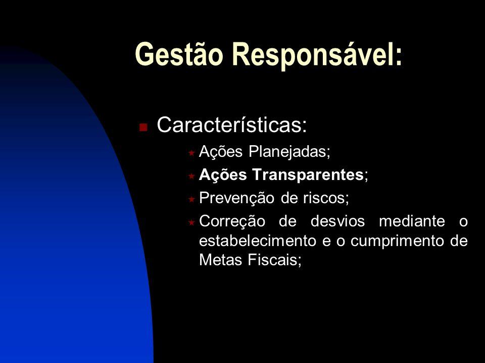 Gestão Responsável: Características: Ações Planejadas; Ações Transparentes; Prevenção de riscos; Correção de desvios mediante o estabelecimento e o cu
