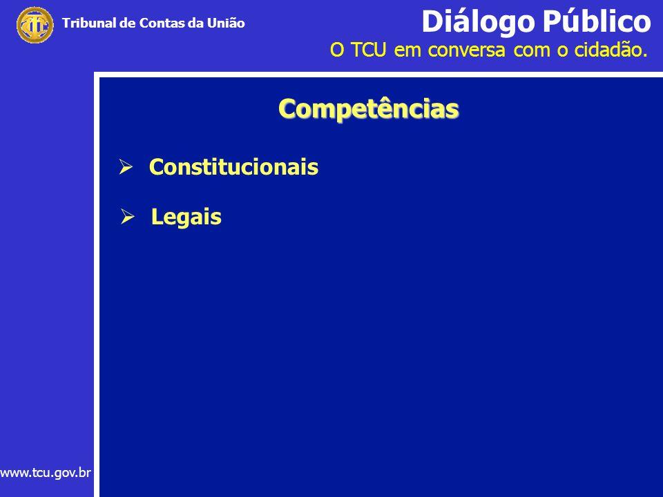Diálogo Público O TCU em conversa com o cidadão. www.tcu.gov.br Tribunal de Contas da União Constitucionais Competências Legais