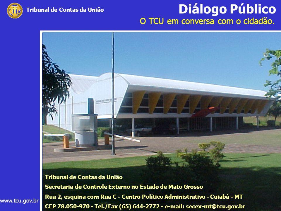 Diálogo Público O TCU em conversa com o cidadão. www.tcu.gov.br Tribunal de Contas da União Secretaria de Controle Externo no Estado de Mato Grosso Ru