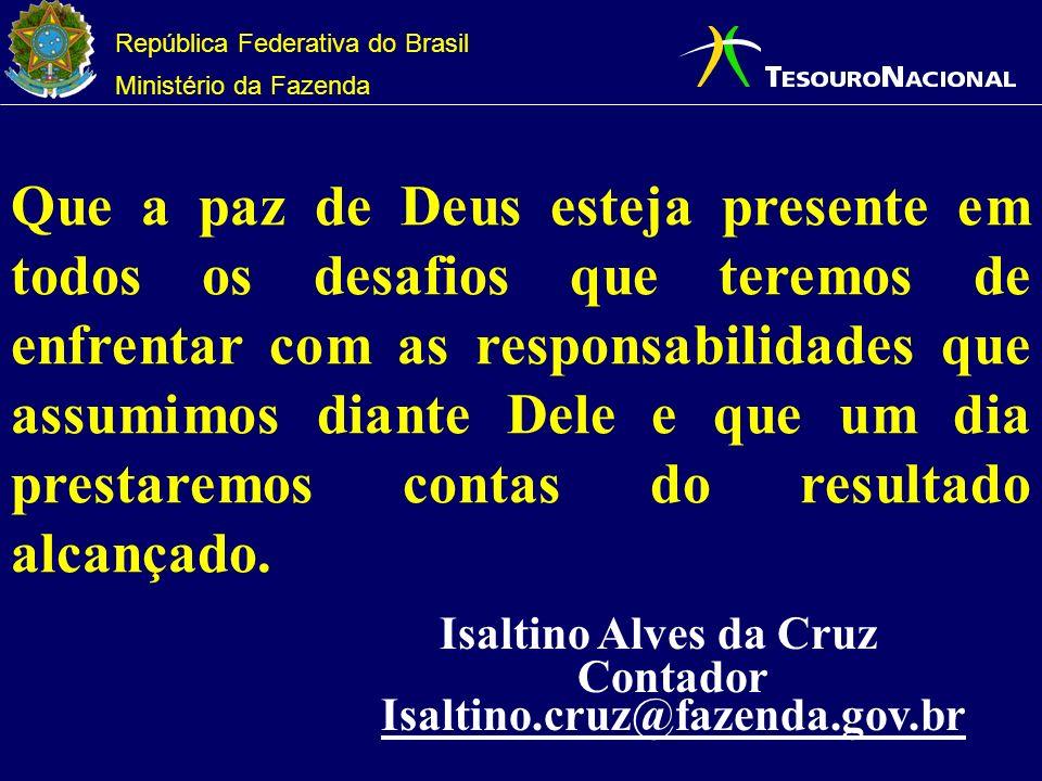 República Federativa do Brasil Ministério da Fazenda Que a paz de Deus esteja presente em todos os desafios que teremos de enfrentar com as responsabilidades que assumimos diante Dele e que um dia prestaremos contas do resultado alcançado.