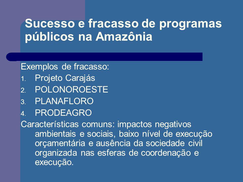 Sucesso e fracasso de programas públicos na Amazônia Exemplos de fracasso: 1. Projeto Carajás 2. POLONOROESTE 3. PLANAFLORO 4. PRODEAGRO Característic