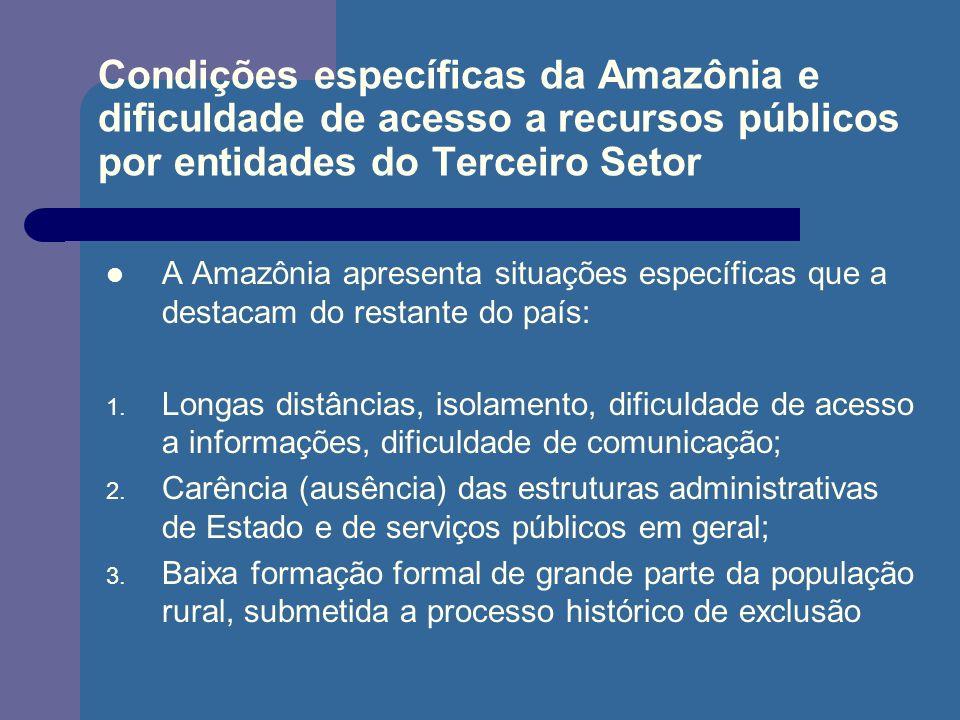 Condições específicas da Amazônia e dificuldade de acesso a recursos públicos por entidades do Terceiro Setor A Amazônia apresenta situações específic