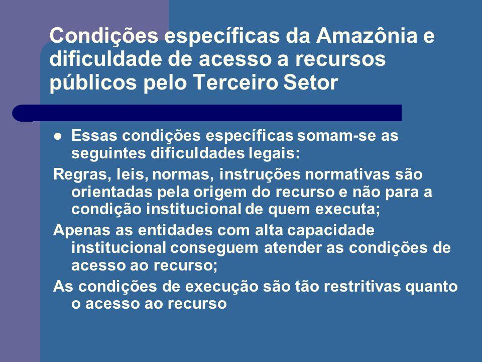 Condições específicas da Amazônia e dificuldade de acesso a recursos públicos pelo Terceiro Setor Essas condições específicas somam-se as seguintes di
