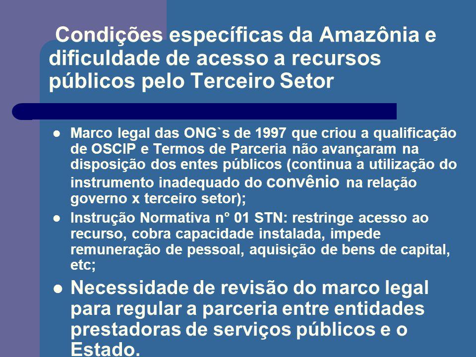 Condições específicas da Amazônia e dificuldade de acesso a recursos públicos pelo Terceiro Setor Marco legal das ONG`s de 1997 que criou a qualificaç