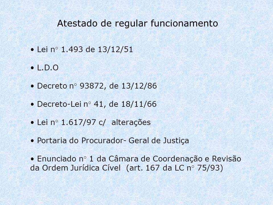 Lei n° 1.493 de 13/12/51 L.D.O Decreto n° 93872, de 13/12/86 Decreto-Lei n° 41, de 18/11/66 Lei n° 1.617/97 c/ alterações Portaria do Procurador- Geral de Justiça Enunciado n° 1 da Câmara de Coordenação e Revisão da Ordem Jurídica Cível (art.