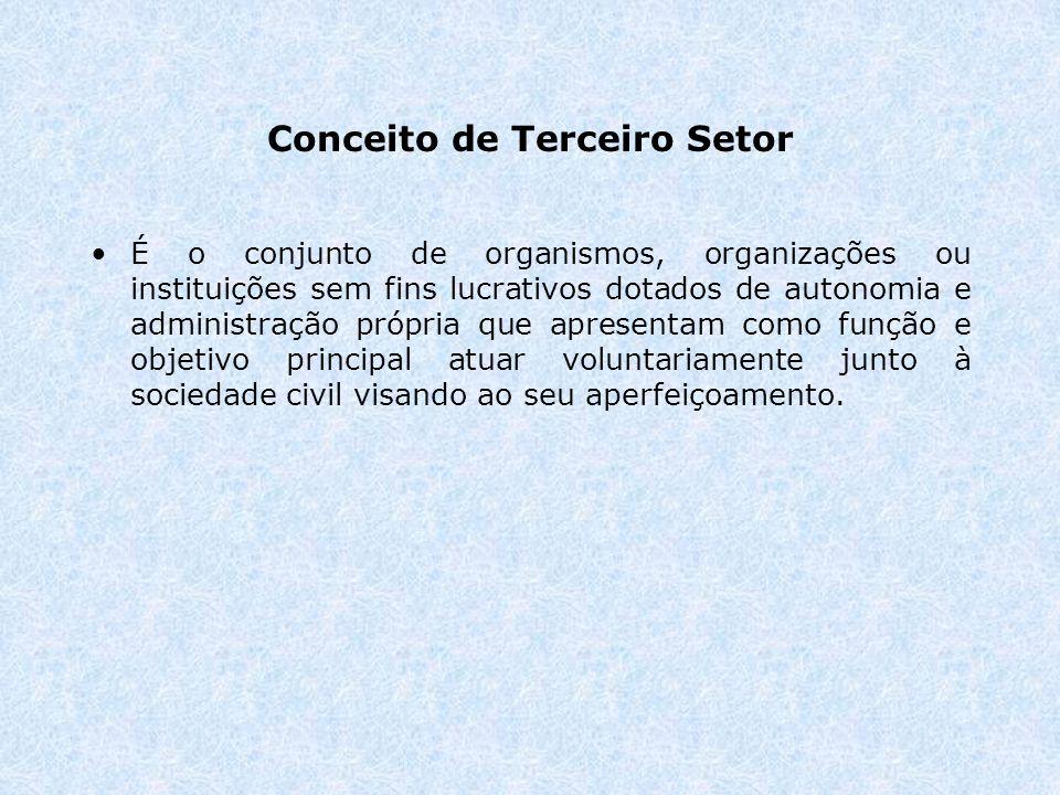 Conceito de Terceiro Setor É o conjunto de organismos, organizações ou instituições sem fins lucrativos dotados de autonomia e administração própria que apresentam como função e objetivo principal atuar voluntariamente junto à sociedade civil visando ao seu aperfeiçoamento.