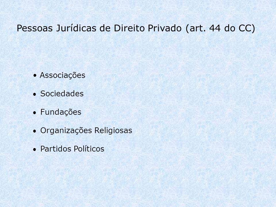Pessoas Jurídicas de Direito Privado (art.