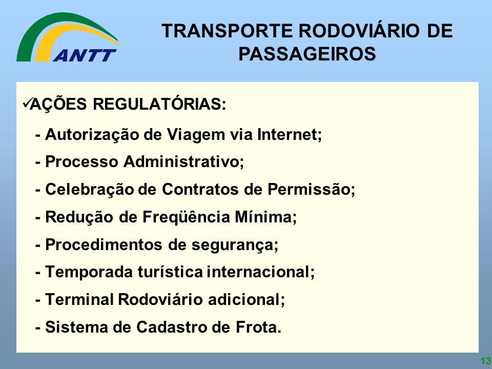 13 AÇÕES REGULATÓRIAS: - Autorização de Viagem via Internet; - Processo Administrativo; - Celebração de Contratos de Permissão; - Redução de Freqüênci