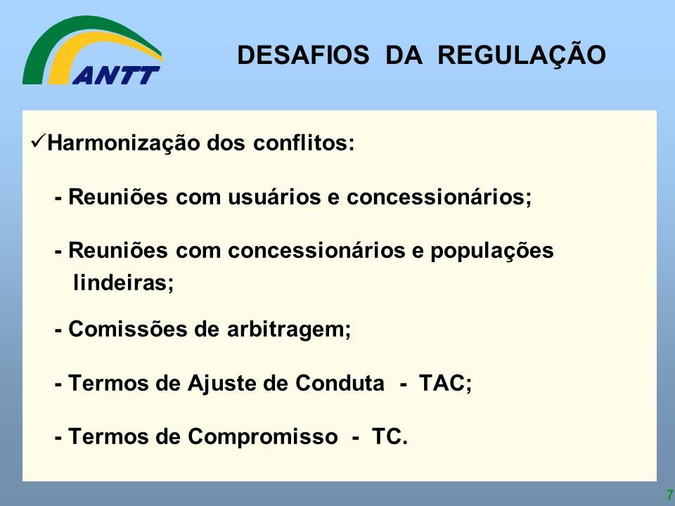 7 Harmonização dos conflitos: - Reuniões com usuários e concessionários; - Reuniões com concessionários e populações lindeiras; - Comissões de arbitra