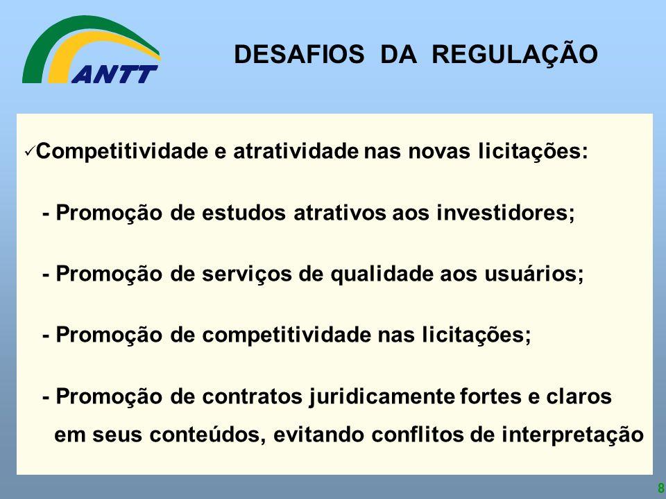 8 Competitividade e atratividade nas novas licitações: - Promoção de estudos atrativos aos investidores; - Promoção de serviços de qualidade aos usuár
