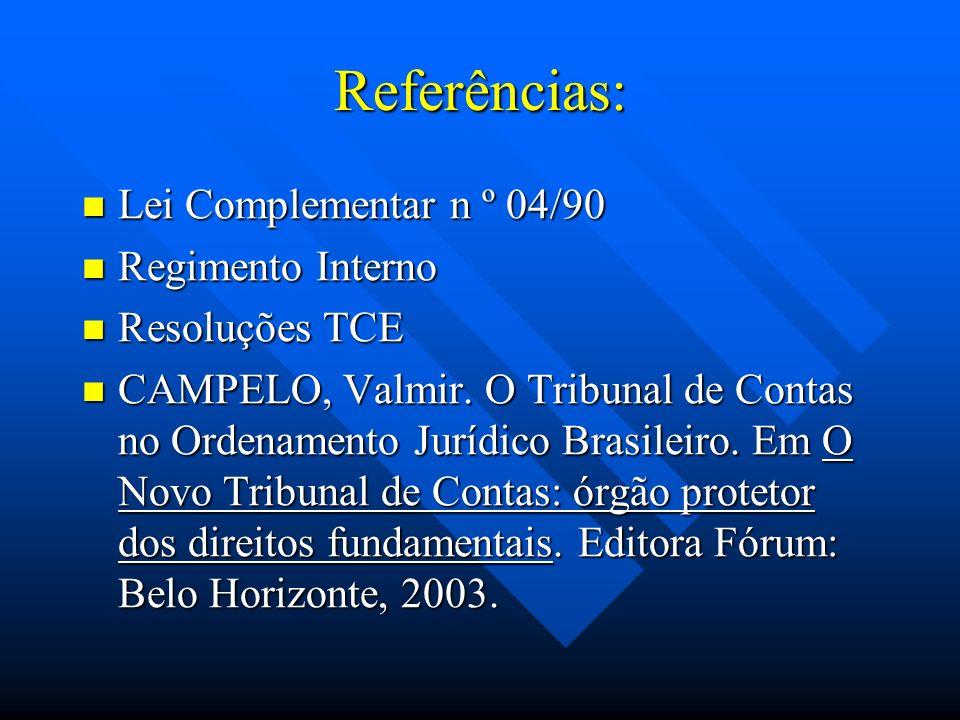 Referências: Lei Complementar n º 04/90 Lei Complementar n º 04/90 Regimento Interno Regimento Interno Resoluções TCE Resoluções TCE CAMPELO, Valmir.