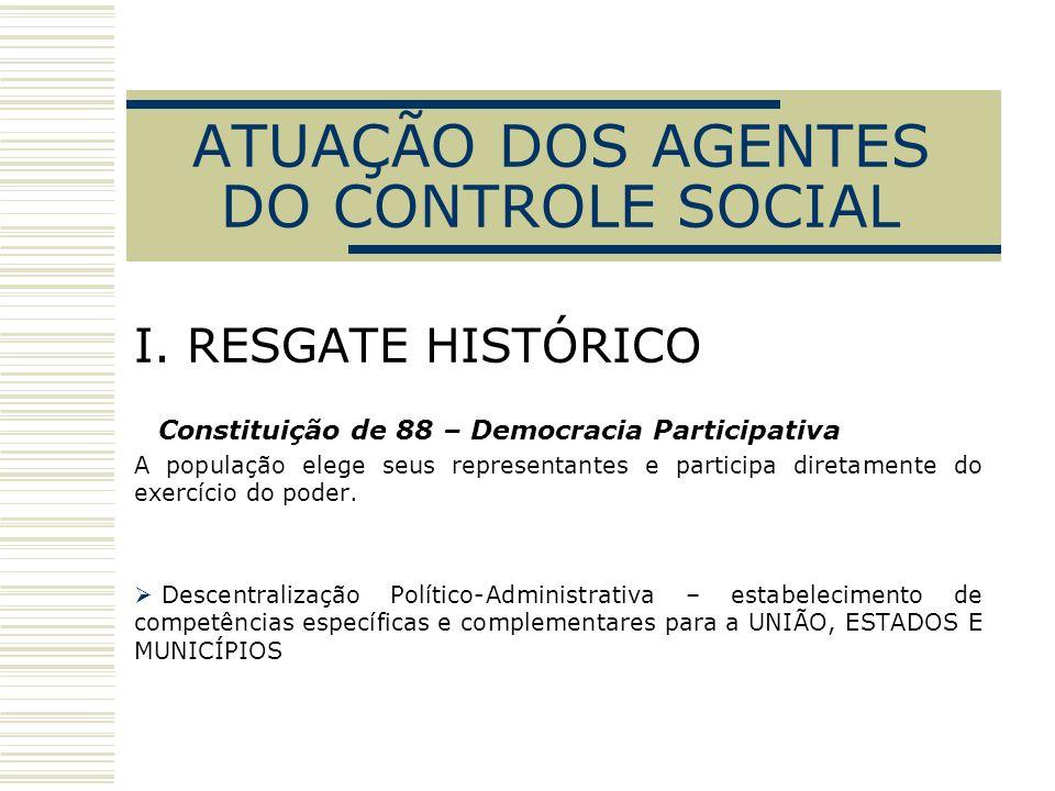I. RESGATE HISTÓRICO Constituição de 88 – Democracia Participativa A população elege seus representantes e participa diretamente do exercício do poder