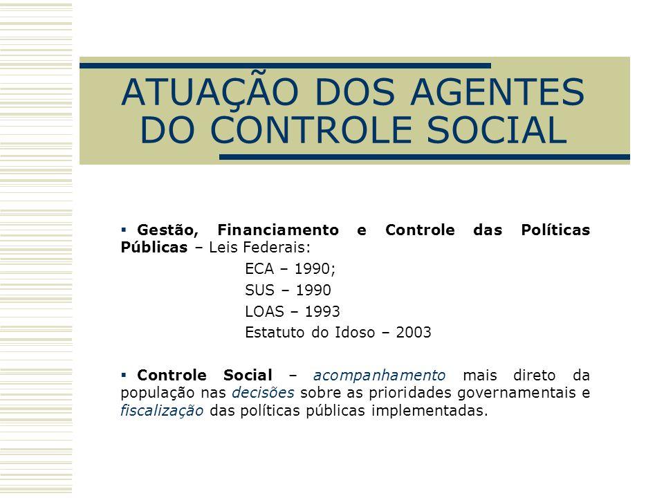 ATUAÇÃO DOS AGENTES DO CONTROLE SOCIAL Gestão, Financiamento e Controle das Políticas Públicas – Leis Federais: ECA – 1990; SUS – 1990 LOAS – 1993 Est