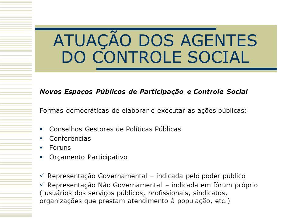 ATUAÇÃO DOS AGENTES DO CONTROLE SOCIAL Novos Espaços Públicos de Participação e Controle Social Formas democráticas de elaborar e executar as ações pú
