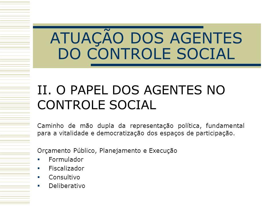 ATUAÇÃO DOS AGENTES DO CONTROLE SOCIAL II. O PAPEL DOS AGENTES NO CONTROLE SOCIAL Caminho de mão dupla da representação política, fundamental para a v