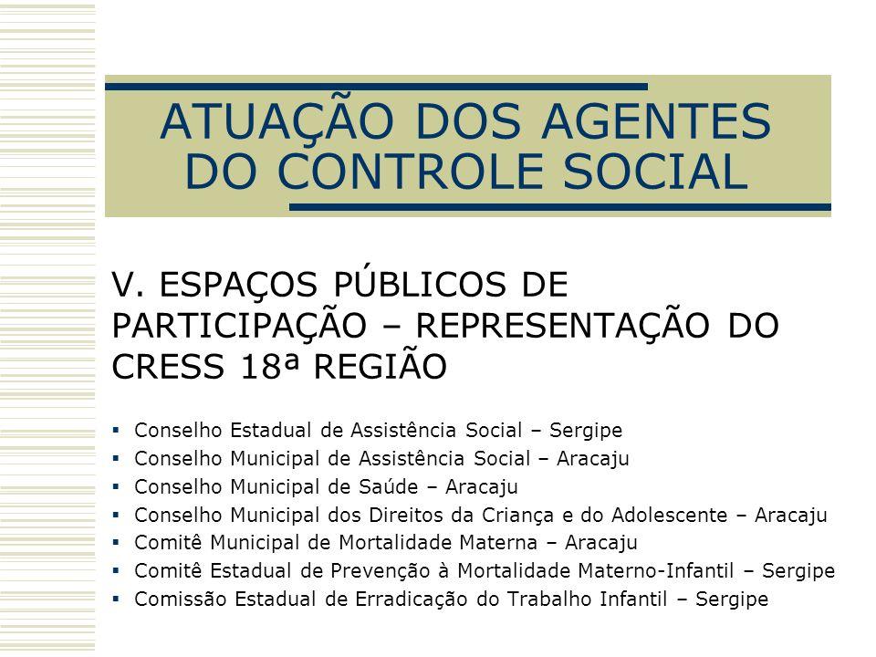 ATUAÇÃO DOS AGENTES DO CONTROLE SOCIAL V. ESPAÇOS PÚBLICOS DE PARTICIPAÇÃO – REPRESENTAÇÃO DO CRESS 18ª REGIÃO Conselho Estadual de Assistência Social