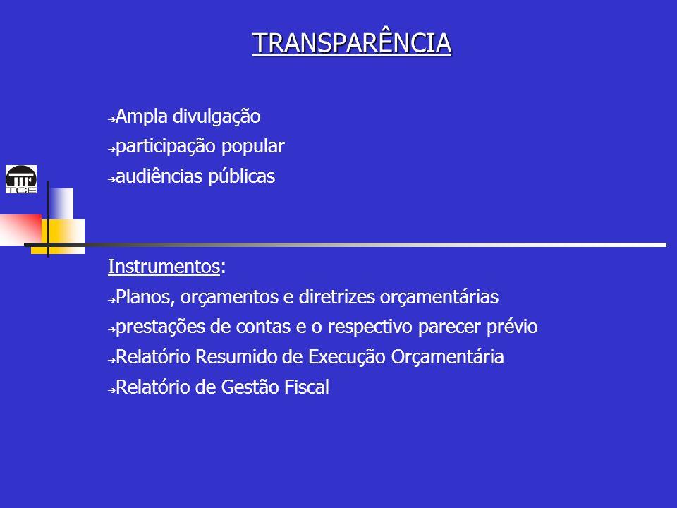 TRANSPARÊNCIA Ampla divulgação participação popular audiências públicas Instrumentos: Planos, orçamentos e diretrizes orçamentárias prestações de contas e o respectivo parecer prévio Relatório Resumido de Execução Orçamentária Relatório de Gestão Fiscal