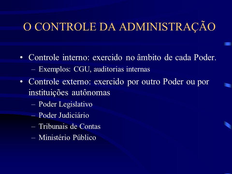 O CONTROLE DA ADMINISTRAÇÃO Controle interno: exercido no âmbito de cada Poder. –Exemplos: CGU, auditorias internas Controle externo: exercido por out