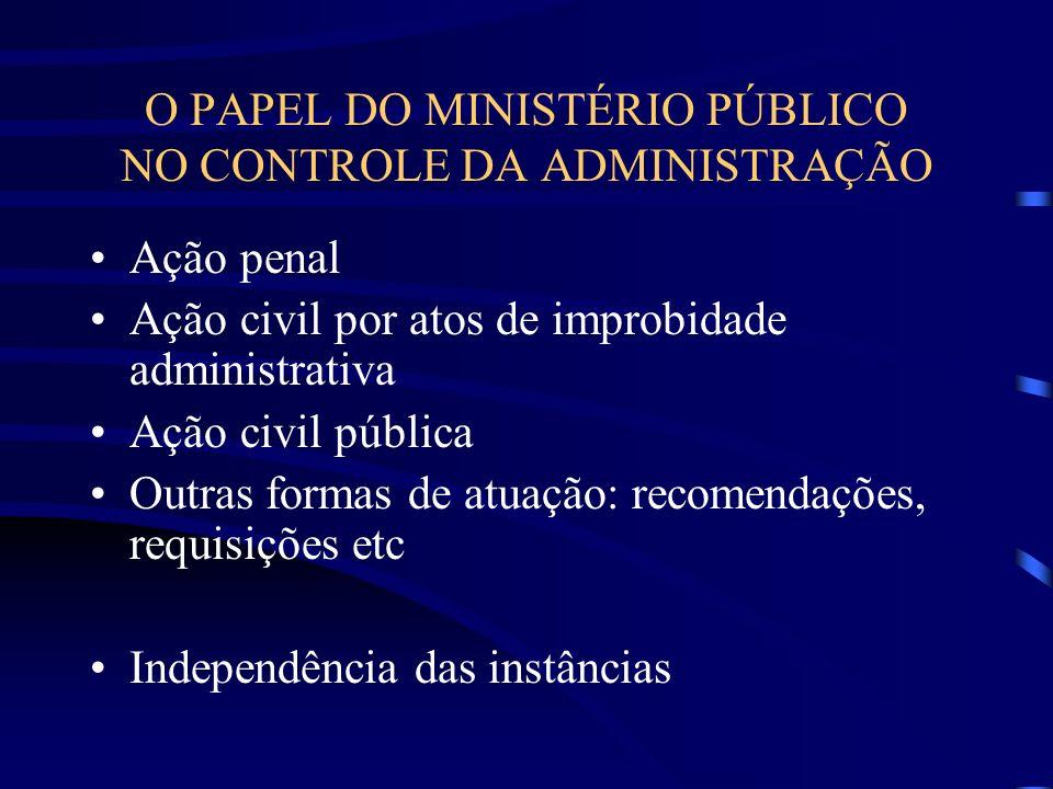 O PAPEL DO MINISTÉRIO PÚBLICO NO CONTROLE DA ADMINISTRAÇÃO Ação penal Ação civil por atos de improbidade administrativa Ação civil pública Outras formas de atuação: recomendações, requisições etc Independência das instâncias