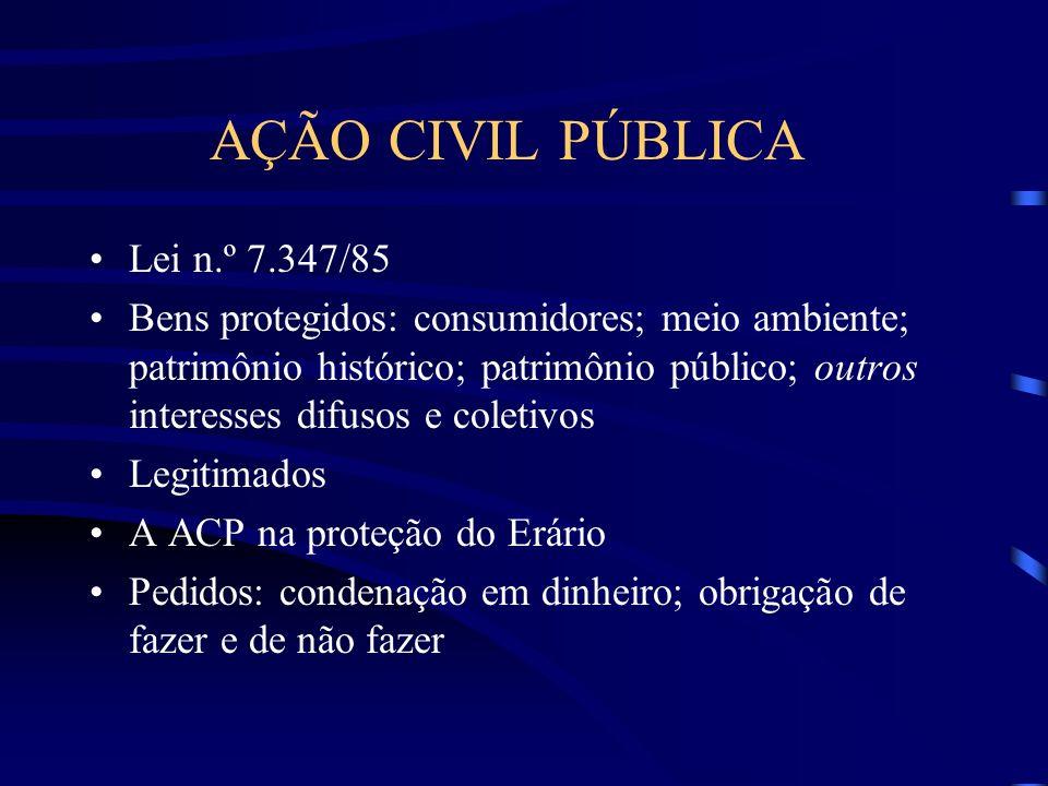 AÇÃO CIVIL PÚBLICA Lei n.º 7.347/85 Bens protegidos: consumidores; meio ambiente; patrimônio histórico; patrimônio público; outros interesses difusos