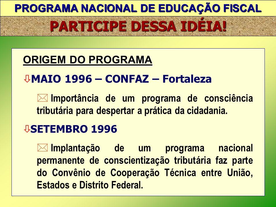 PROGRAMA NACIONAL DE EDUCAÇÃO FISCAL PARTICIPE DESSA IDÉIA! ABRANGÊNCIA A implantação do Programa se fará por meio dos seguintes módulos: Módulo I – E