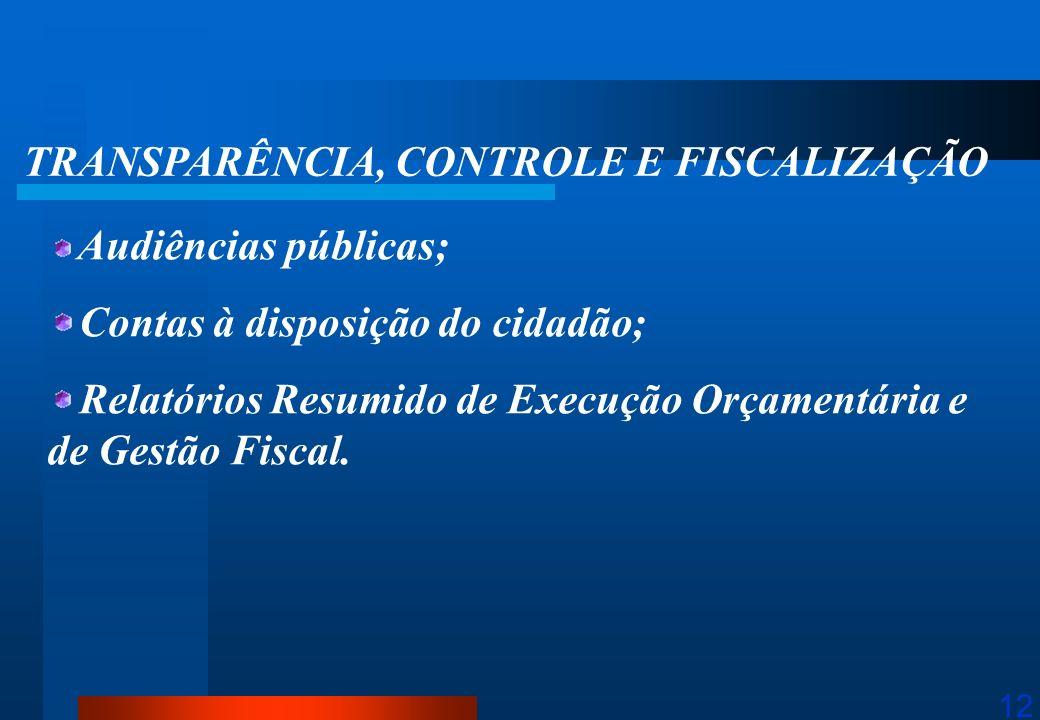 12 TRANSPARÊNCIA, CONTROLE E FISCALIZAÇÃO Audiências públicas; Contas à disposição do cidadão; Relatórios Resumido de Execução Orçamentária e de Gestã