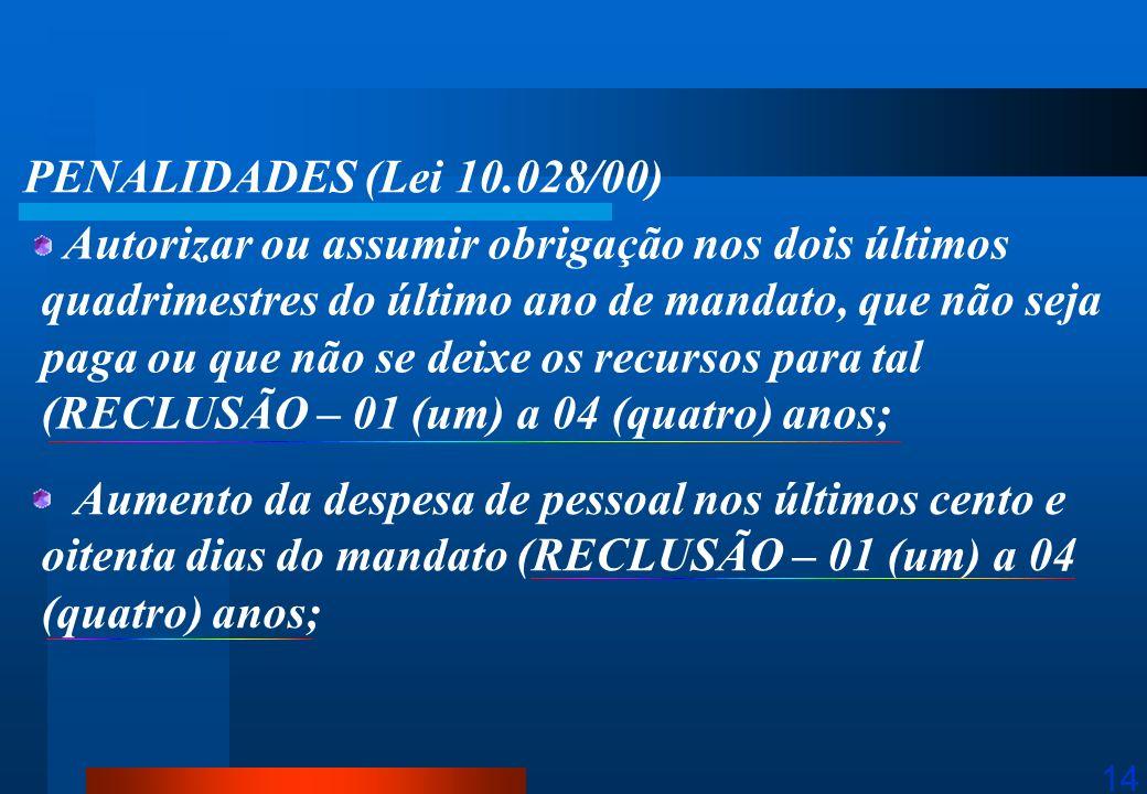 14 PENALIDADES (Lei 10.028/00) Autorizar ou assumir obrigação nos dois últimos quadrimestres do último ano de mandato, que não seja paga ou que não se